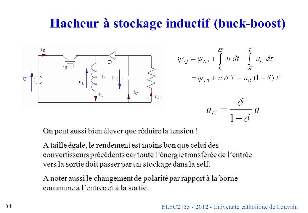 ELEC2753 - 2012 - Université catholique de Louvain 34 Hacheur à stockage inductif (buck-boost) On peut aussi bien élever que réduire la tension ! A ta