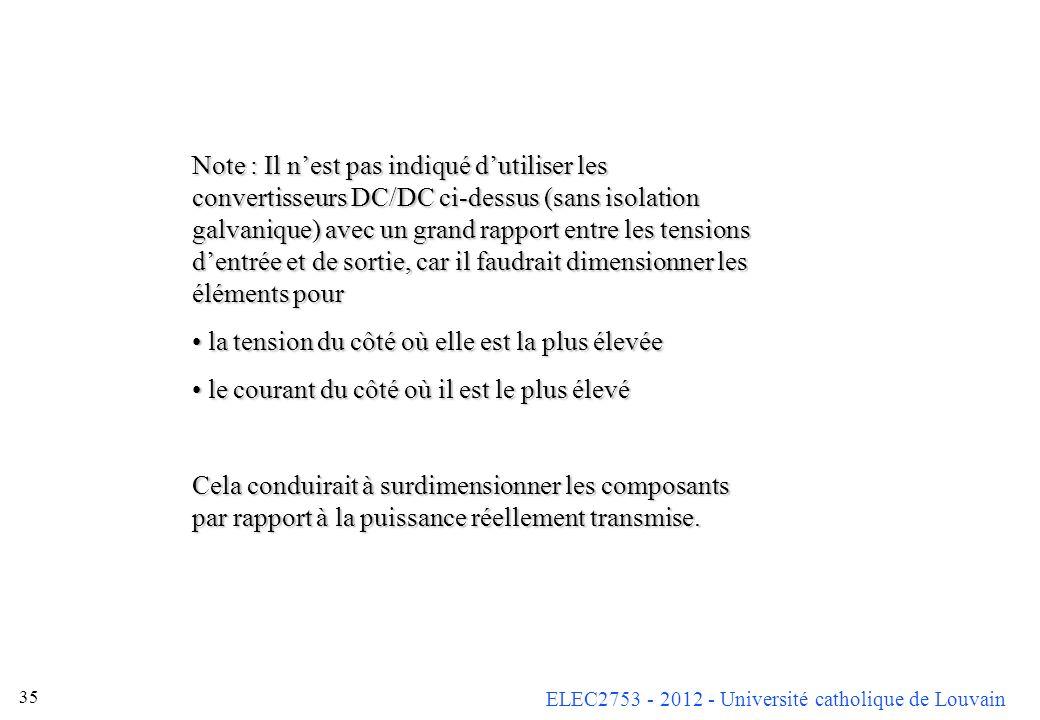 ELEC2753 - 2012 - Université catholique de Louvain 35 Note : Il nest pas indiqué dutiliser les convertisseurs DC/DC ci-dessus (sans isolation galvaniq