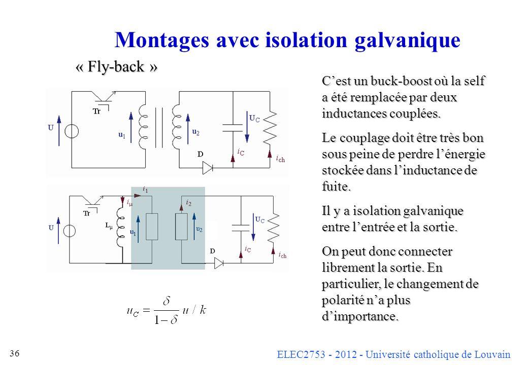 ELEC2753 - 2012 - Université catholique de Louvain 36 Montages avec isolation galvanique Cest un buck-boost où la self a été remplacée par deux induct