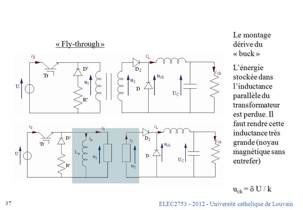 ELEC2753 - 2012 - Université catholique de Louvain 37 « Fly-through » Le montage dérive du « buck » Lénergie stockée dans linductance parallèle du tra