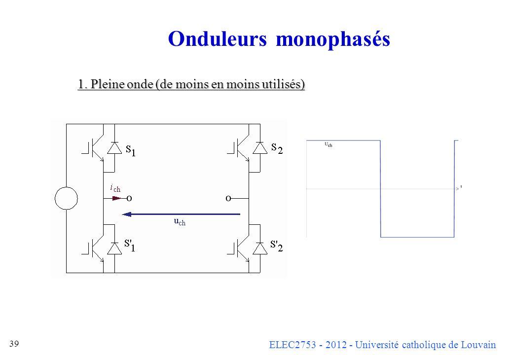 ELEC2753 - 2012 - Université catholique de Louvain 39 Onduleurs monophasés 1. Pleine onde (de moins en moins utilisés)