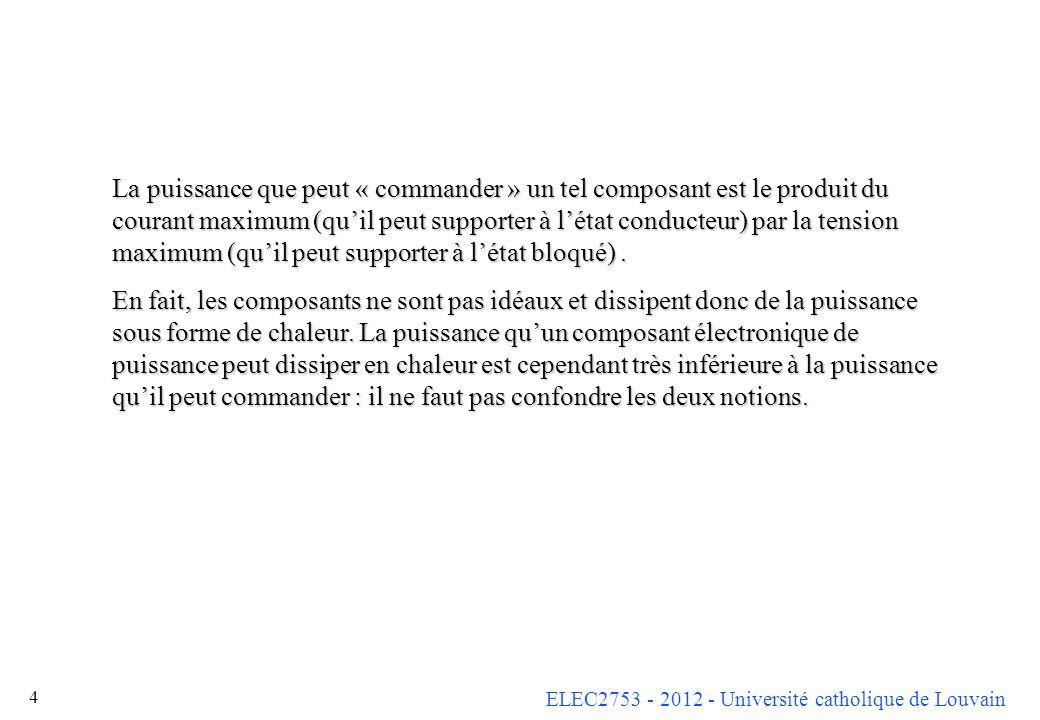 ELEC2753 - 2012 - Université catholique de Louvain 4 La puissance que peut « commander » un tel composant est le produit du courant maximum (quil peut