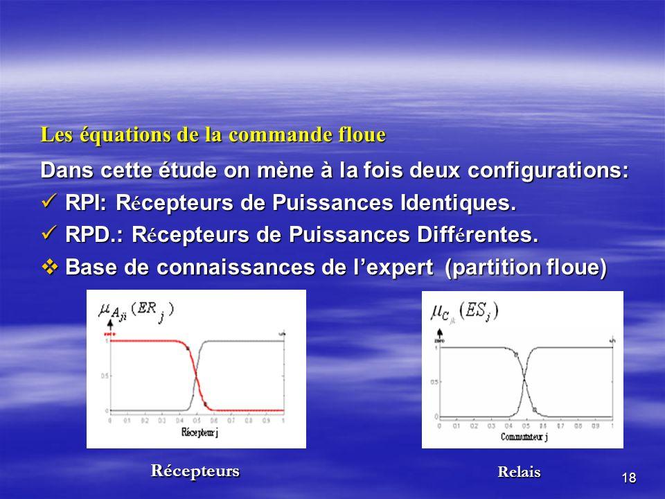 18 Les équations de la commande floue Dans cette étude on mène à la fois deux configurations: RPI: R é cepteurs de Puissances Identiques.