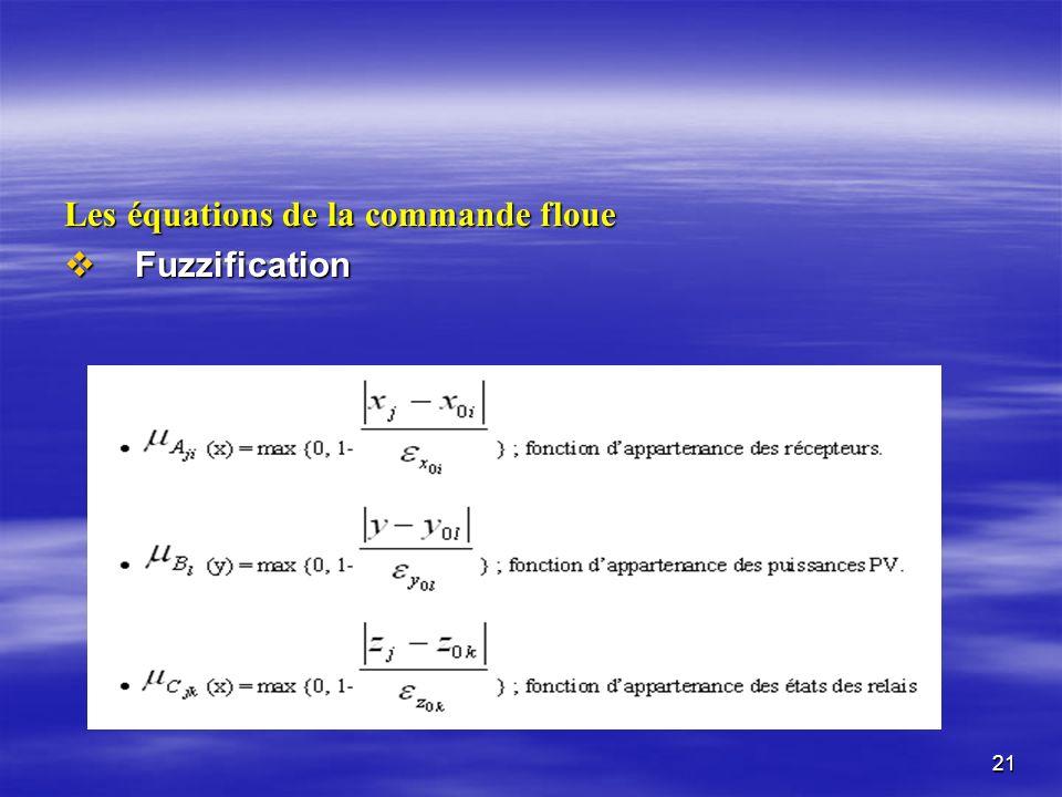 21 Les équations de la commande floue Fuzzification Fuzzification