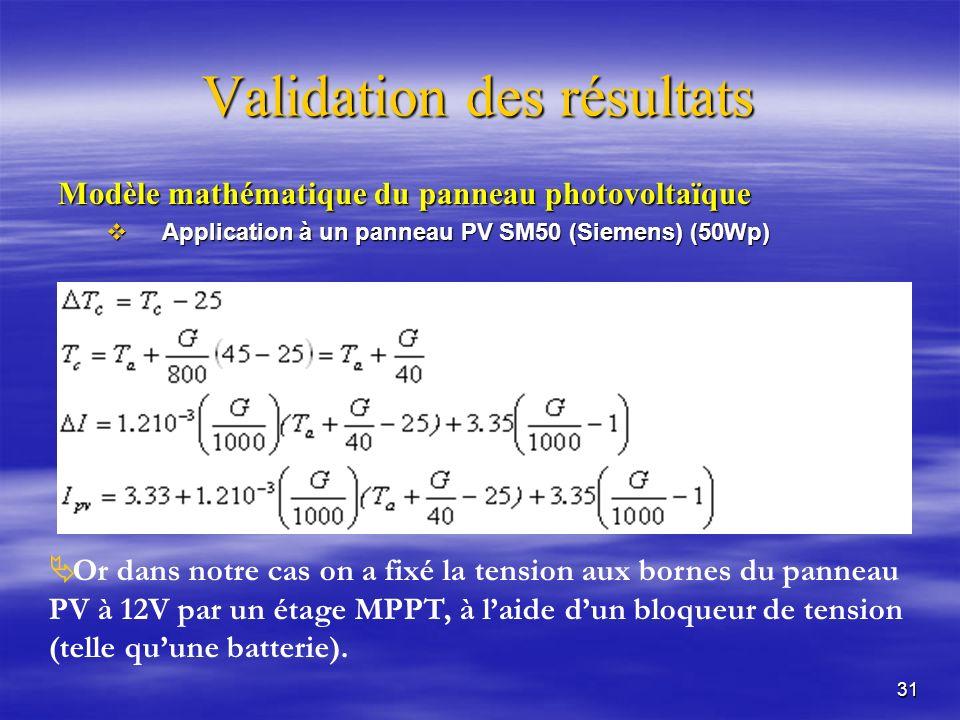 31 Validation des résultats Modèle mathématique du panneau photovoltaïque Application à un panneau PV SM50 (Siemens) (50Wp) Application à un panneau PV SM50 (Siemens) (50Wp) Or dans notre cas on a fixé la tension aux bornes du panneau PV à 12V par un étage MPPT, à laide dun bloqueur de tension (telle quune batterie).