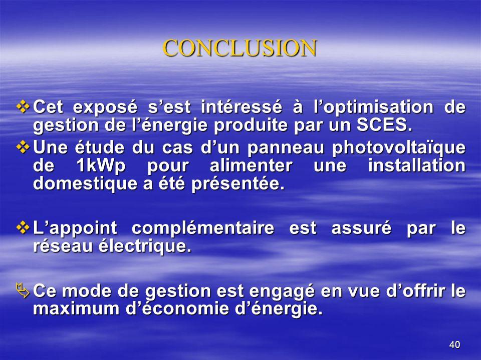 40 CONCLUSION Cet exposé sest intéressé à loptimisation de gestion de lénergie produite par un SCES.
