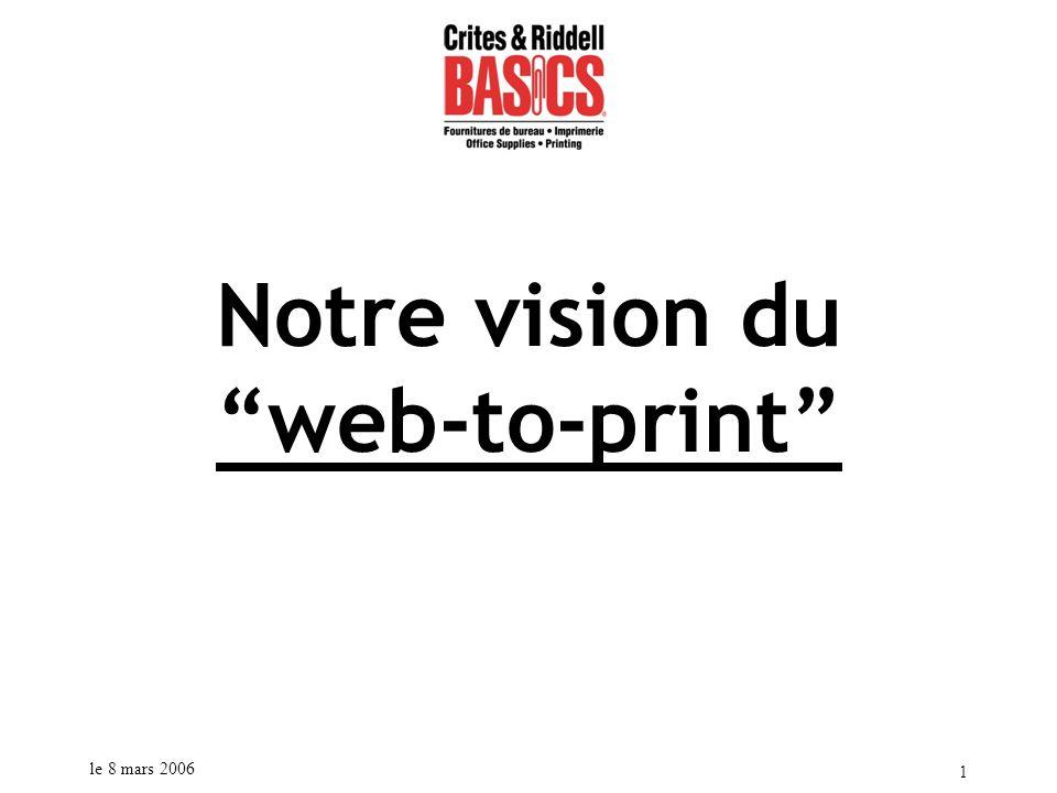 le 8 mars 2006 2 Information pour le système Prisme Technologies Prisme Technologies se spécialise dans la création d applications Internet ayant pour but d automatiser les processus d affaires dans le domaine de la gestion des produits imprimés.