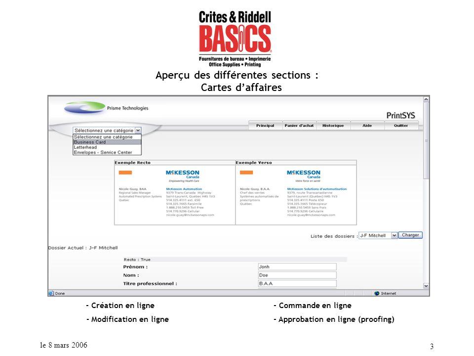 le 8 mars 2006 3 Aperçu des différentes sections : Cartes daffaires - Création en ligne - Commande en ligne - Modification en ligne - Approbation en l