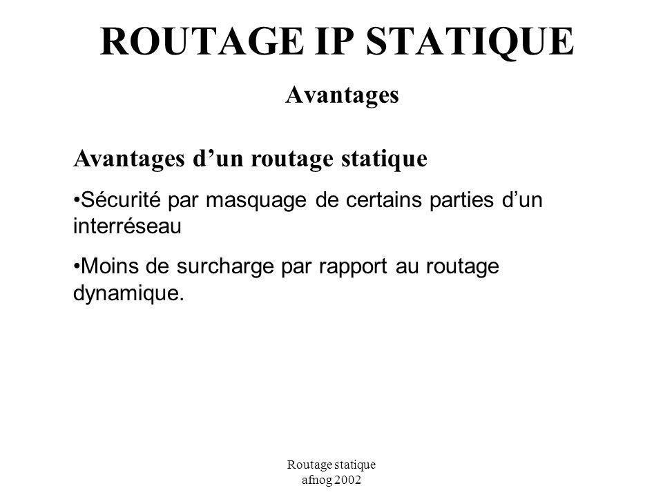 Routage statique afnog 2002 ROUTAGE IP STATIQUE Avantages Avantages dun routage statique Sécurité par masquage de certains parties dun interréseau Moi