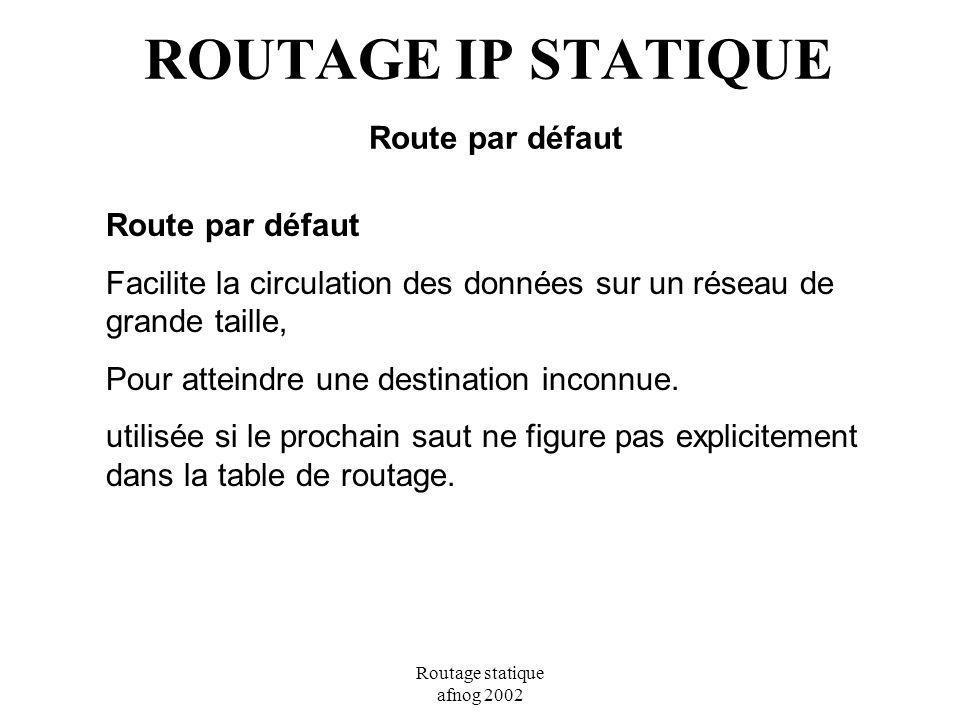 Routage statique afnog 2002 ROUTAGE IP STATIQUE Route par défaut Route par défaut Facilite la circulation des données sur un réseau de grande taille,
