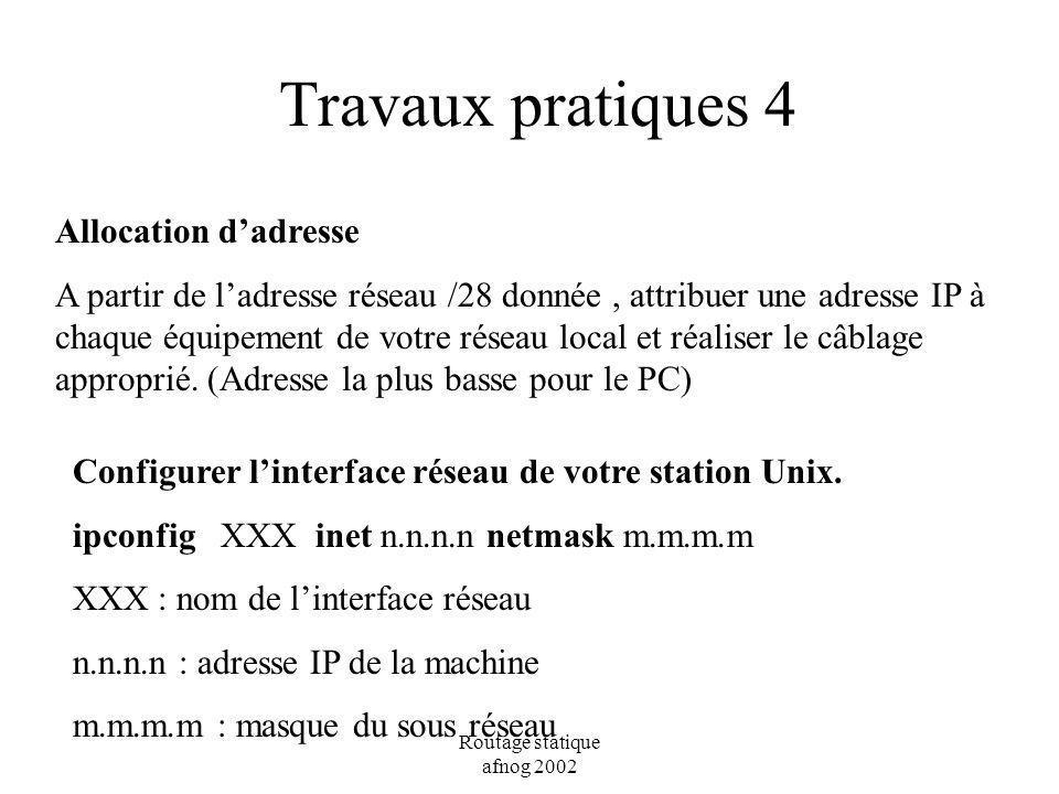 Routage statique afnog 2002 Travaux pratiques 4 Allocation dadresse A partir de ladresse réseau /28 donnée, attribuer une adresse IP à chaque équipeme