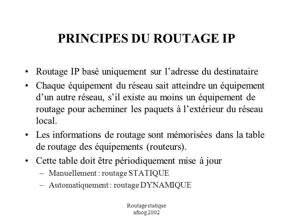 Routage statique afnog 2002 PRINCIPES DU ROUTAGE IP Le routage seffectue sur deux opérations: La sélection de la meilleure voie, La commutation du paquet sur l interface appropriée.