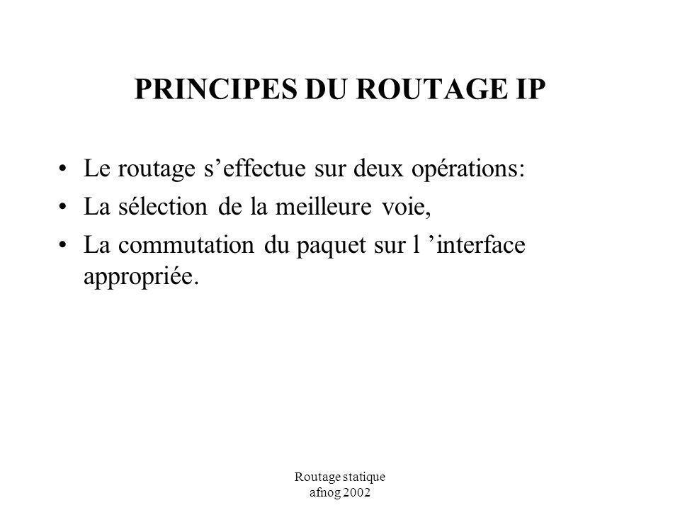 Routage statique afnog 2002 PRINCIPES DU ROUTAGE IP Le routage seffectue sur deux opérations: La sélection de la meilleure voie, La commutation du paq