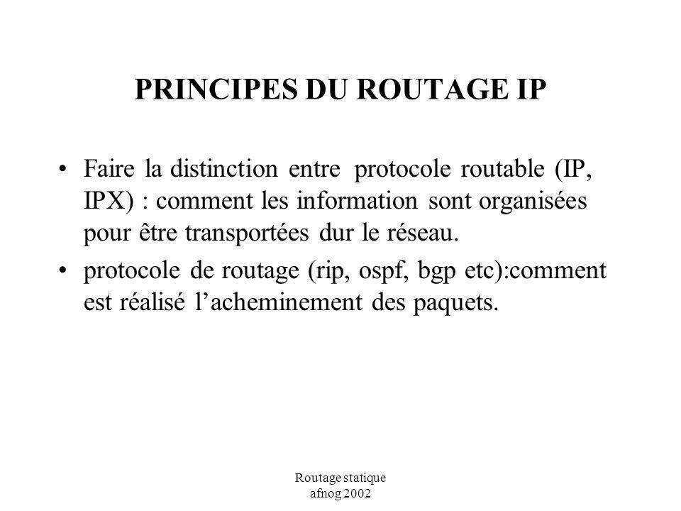 Routage statique afnog 2002 PRINCIPES DU ROUTAGE IP Faire la distinction entre protocole routable (IP, IPX) : comment les information sont organisées