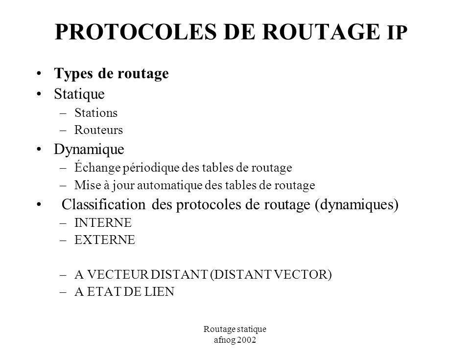 Routage statique afnog 2002 PROTOCOLES DE ROUTAGE IP Types de routage Statique –Stations –Routeurs Dynamique –Échange périodique des tables de routage