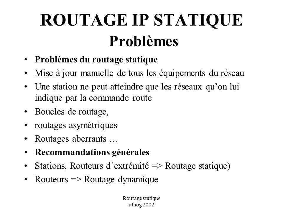 Routage statique afnog 2002 ROUTAGE IP STATIQUE Problèmes Problèmes du routage statique Mise à jour manuelle de tous les équipements du réseau Une sta