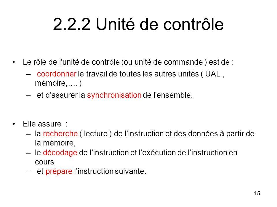 15 2.2.2 Unité de contrôle Le rôle de l'unité de contrôle (ou unité de commande ) est de : – coordonner le travail de toutes les autres unités ( UAL,