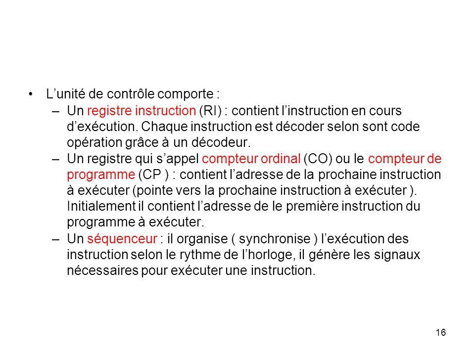 16 Lunité de contrôle comporte : –Un registre instruction (RI) : contient linstruction en cours dexécution. Chaque instruction est décoder selon sont