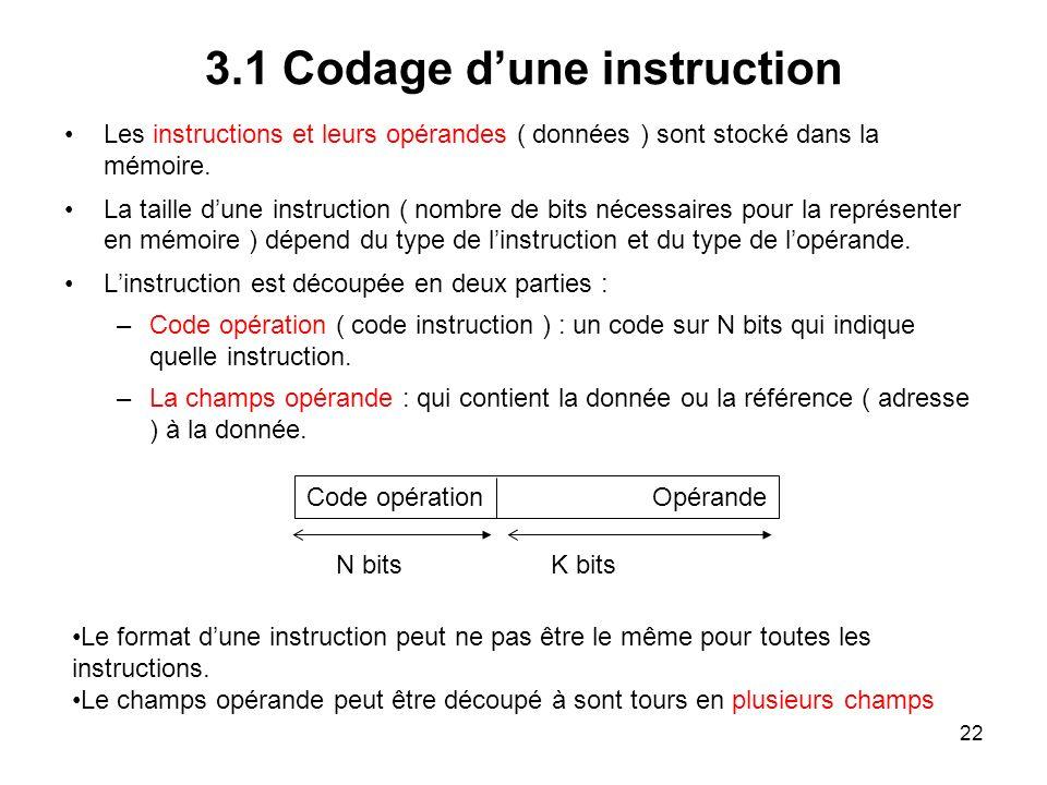 22 3.1 Codage dune instruction Les instructions et leurs opérandes ( données ) sont stocké dans la mémoire. La taille dune instruction ( nombre de bit
