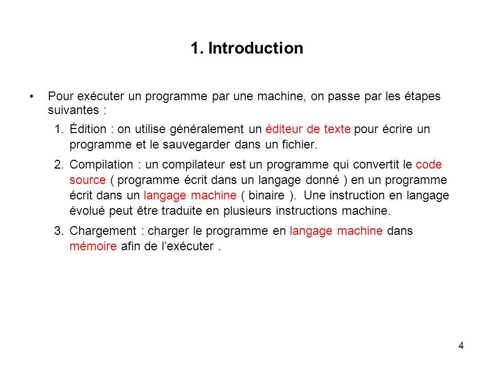 4 1. Introduction Pour exécuter un programme par une machine, on passe par les étapes suivantes : 1.Édition : on utilise généralement un éditeur de te