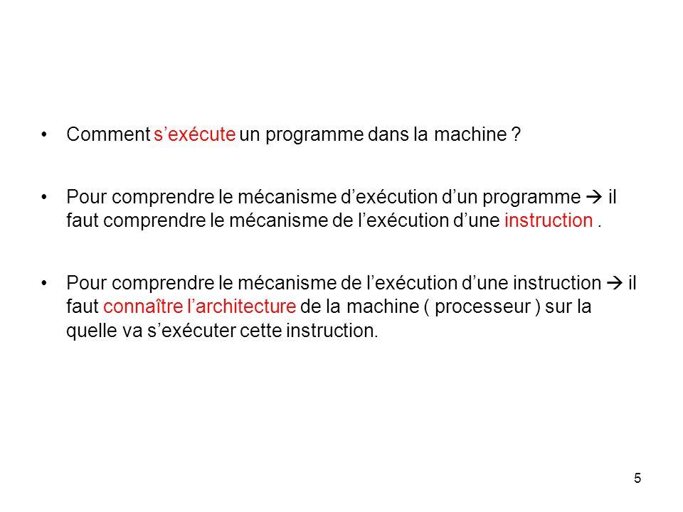 5 Comment sexécute un programme dans la machine ? Pour comprendre le mécanisme dexécution dun programme il faut comprendre le mécanisme de lexécution