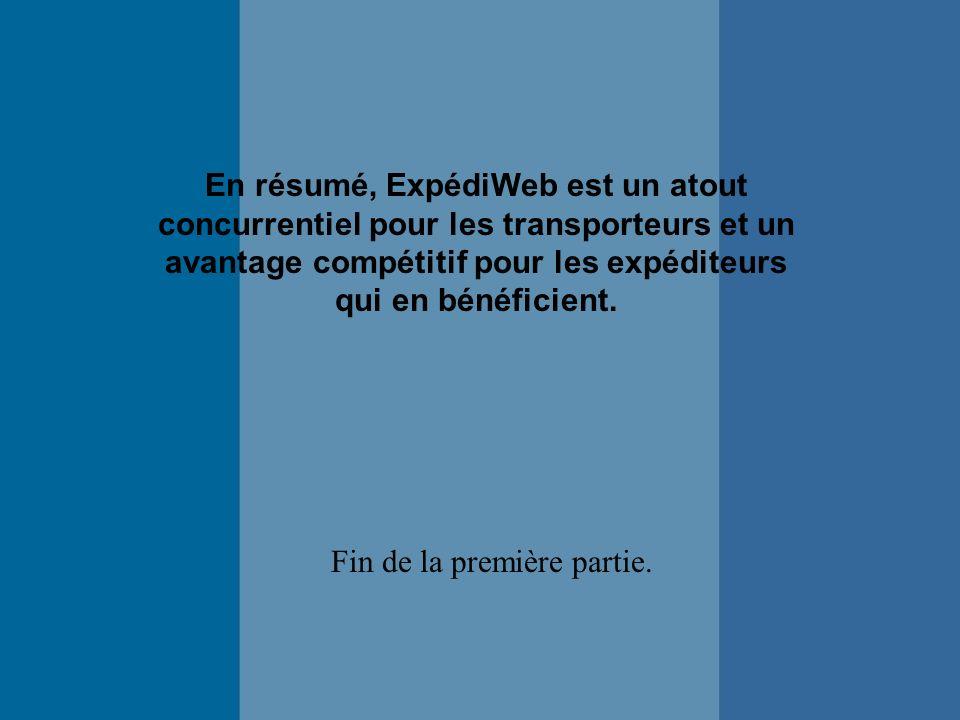 En résumé, ExpédiWeb est un atout concurrentiel pour les transporteurs et un avantage compétitif pour les expéditeurs qui en bénéficient.