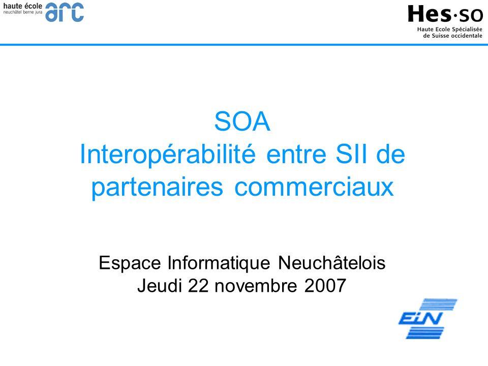 SOA Interopérabilité entre SII de partenaires commerciaux Espace Informatique Neuchâtelois Jeudi 22 novembre 2007