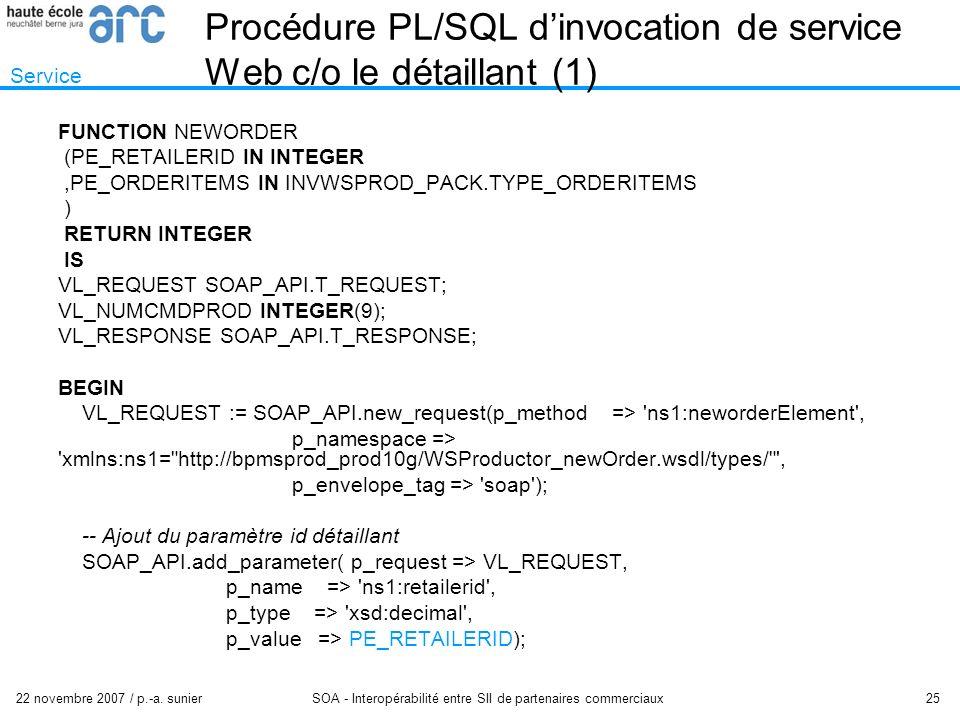 22 novembre 2007 / p.-a. sunier SOA - Interopérabilité entre SII de partenaires commerciaux 25 Procédure PL/SQL dinvocation de service Web c/o le déta