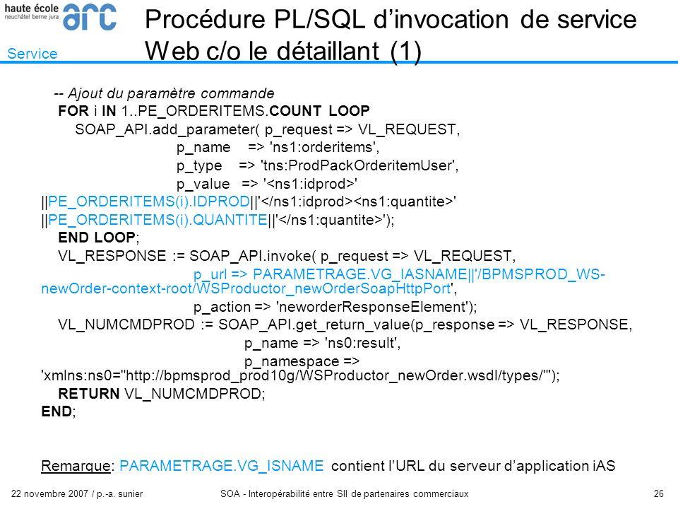 22 novembre 2007 / p.-a. sunier SOA - Interopérabilité entre SII de partenaires commerciaux 26 Procédure PL/SQL dinvocation de service Web c/o le déta