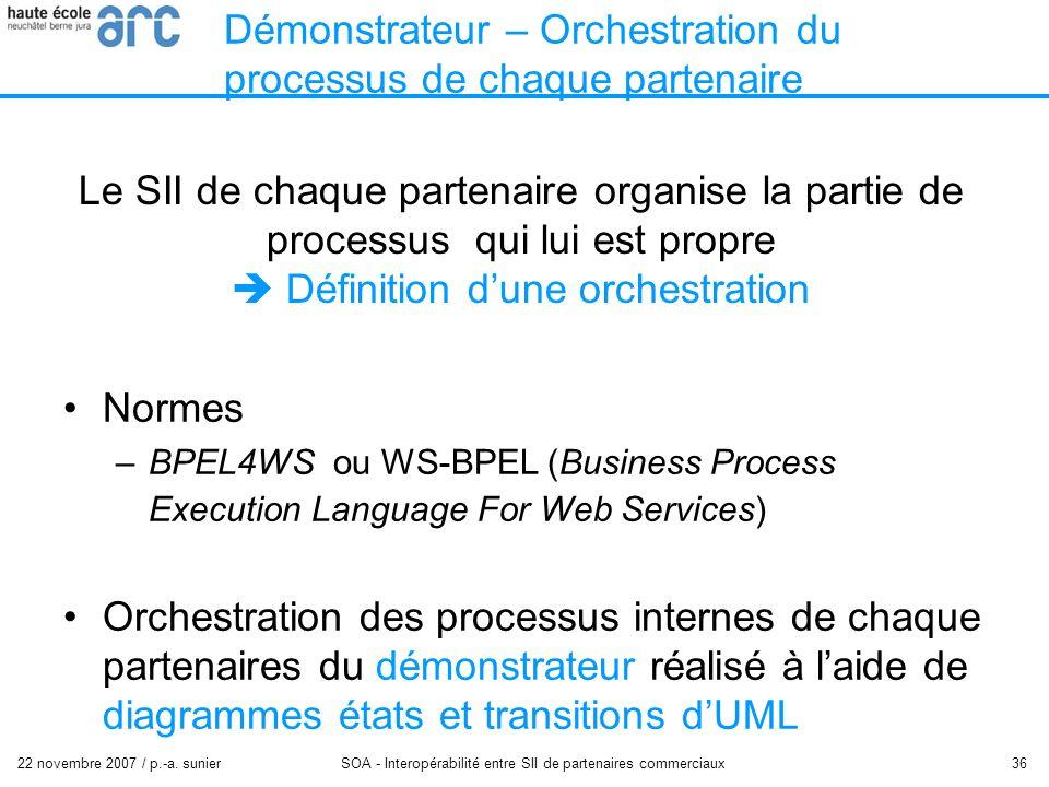 22 novembre 2007 / p.-a. sunier SOA - Interopérabilité entre SII de partenaires commerciaux 36 Démonstrateur – Orchestration du processus de chaque pa
