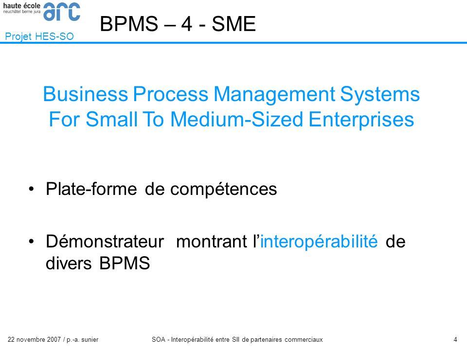 22 novembre 2007 / p.-a. sunier SOA - Interopérabilité entre SII de partenaires commerciaux 4 BPMS – 4 - SME Projet HES-SO Plate-forme de compétences