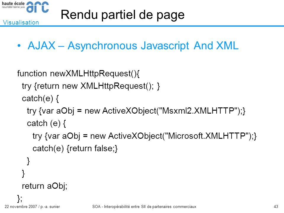 22 novembre 2007 / p.-a. sunier SOA - Interopérabilité entre SII de partenaires commerciaux 43 Rendu partiel de page Visualisation AJAX – Asynchronous