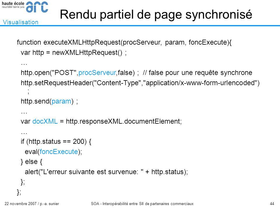22 novembre 2007 / p.-a. sunier SOA - Interopérabilité entre SII de partenaires commerciaux 44 Rendu partiel de page synchronisé Visualisation functio