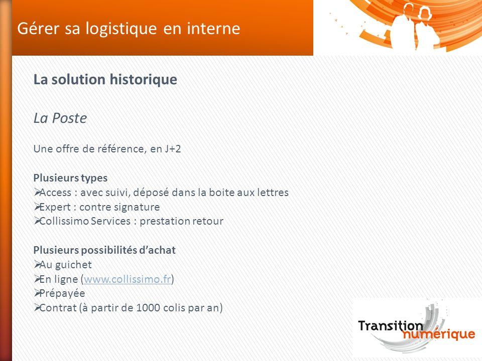 Gérer sa logistique en interne La solution historique La Poste Une offre de référence, en J+2 Plusieurs types Access : avec suivi, déposé dans la boit