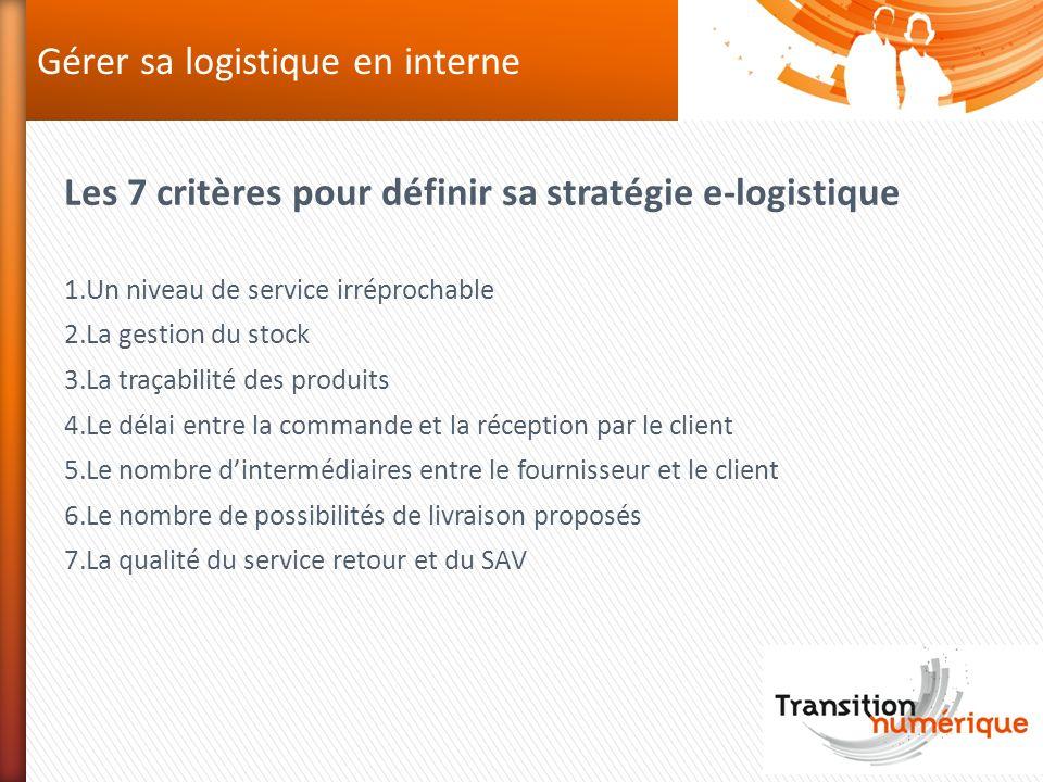 Gérer sa logistique en interne Les 7 critères pour définir sa stratégie e-logistique 1.Un niveau de service irréprochable 2.La gestion du stock 3.La t