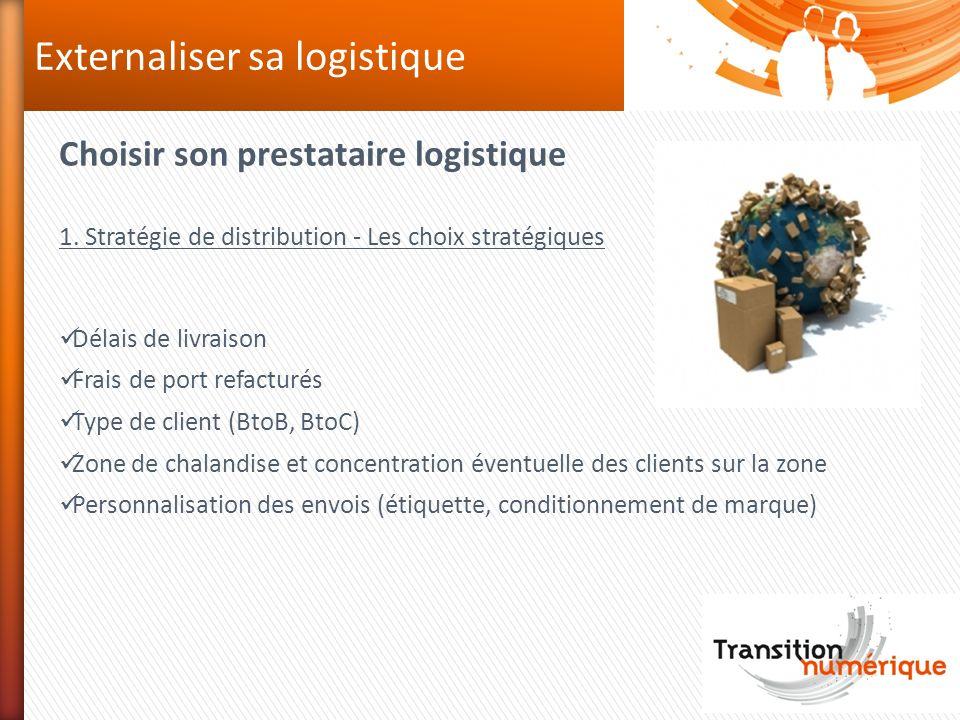Choisir son prestataire logistique 1. Stratégie de distribution - Les choix stratégiques Délais de livraison Frais de port refacturés Type de client (