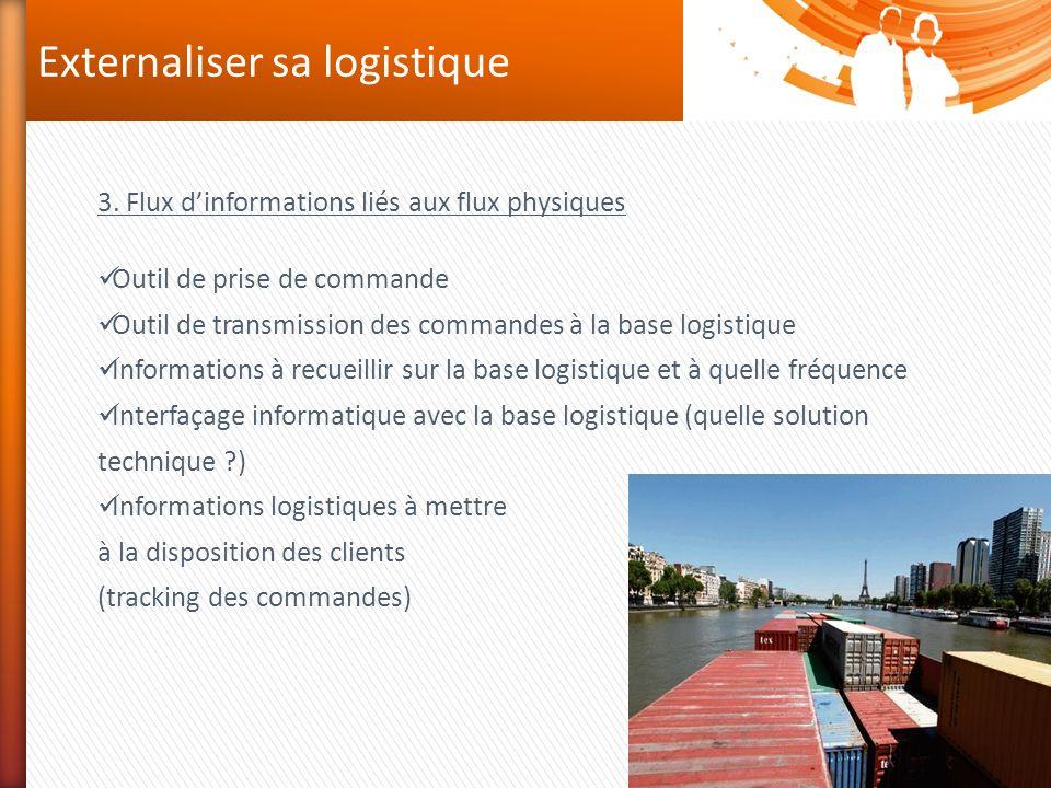 Externaliser sa logistique 3. Flux dinformations liés aux flux physiques Outil de prise de commande Outil de transmission des commandes à la base logi