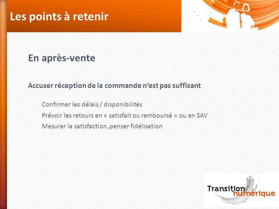 Les points à retenir En après-vente Accuser réception de la commande nest pas suffisant Confirmer les délais / disponibilités Prévoir les retours en «