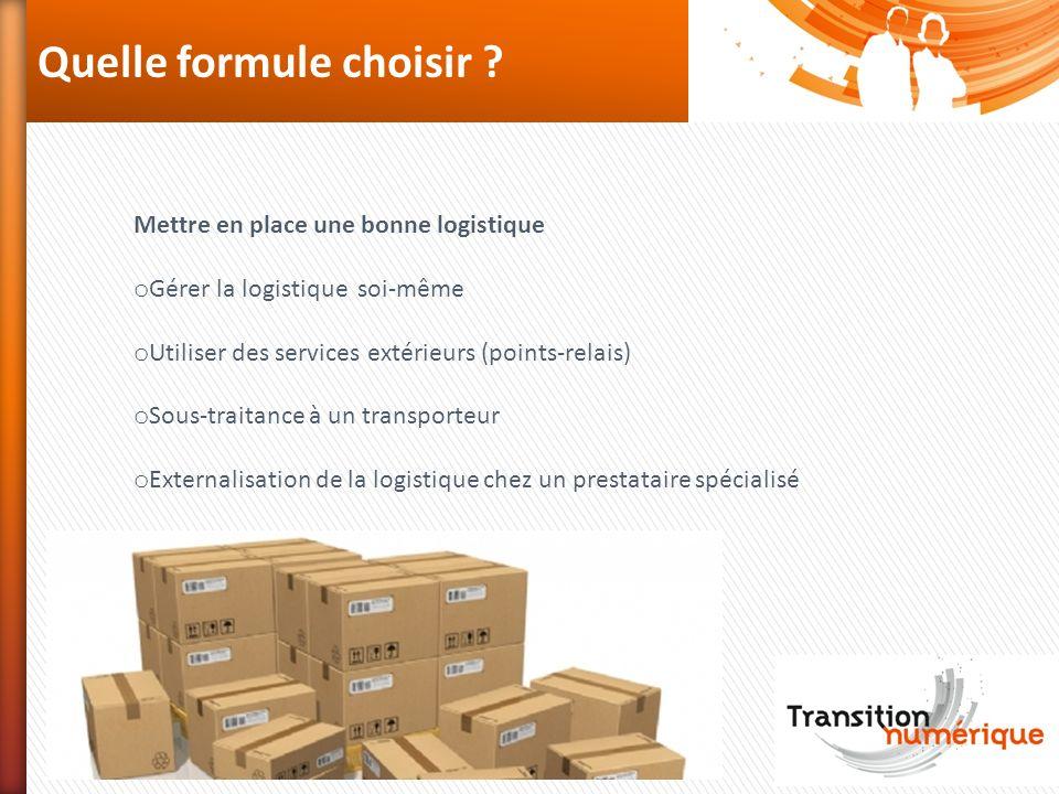 Quelle formule choisir ? Mettre en place une bonne logistique o Gérer la logistique soi-même o Utiliser des services extérieurs (points-relais) o Sous