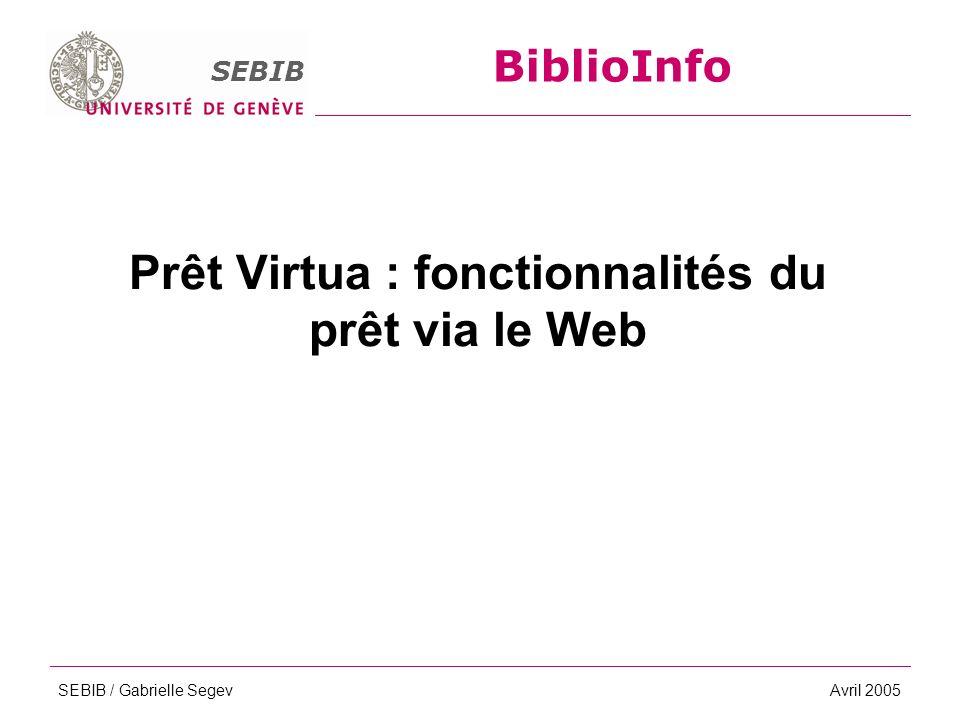 BiblioInfo SEBIB SEBIB / Gabrielle SegevAvril 2005 Prêt Virtua : fonctionnalités du prêt via le Web BiblioInfo SEBIB