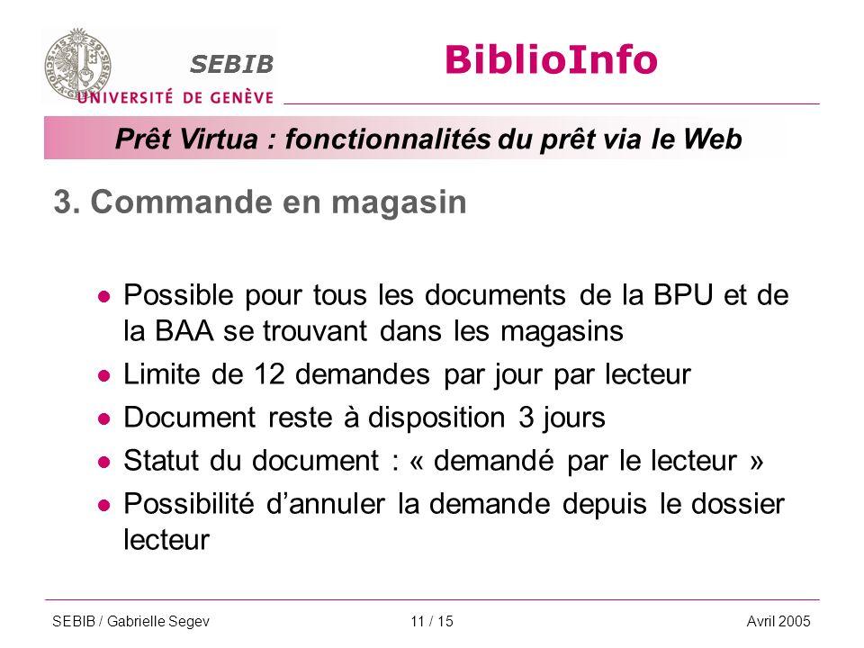 BiblioInfo SEBIB Prêt Virtua : fonctionnalités du prêt via le Web SEBIB / Gabrielle SegevAvril 200511 / 15 3.