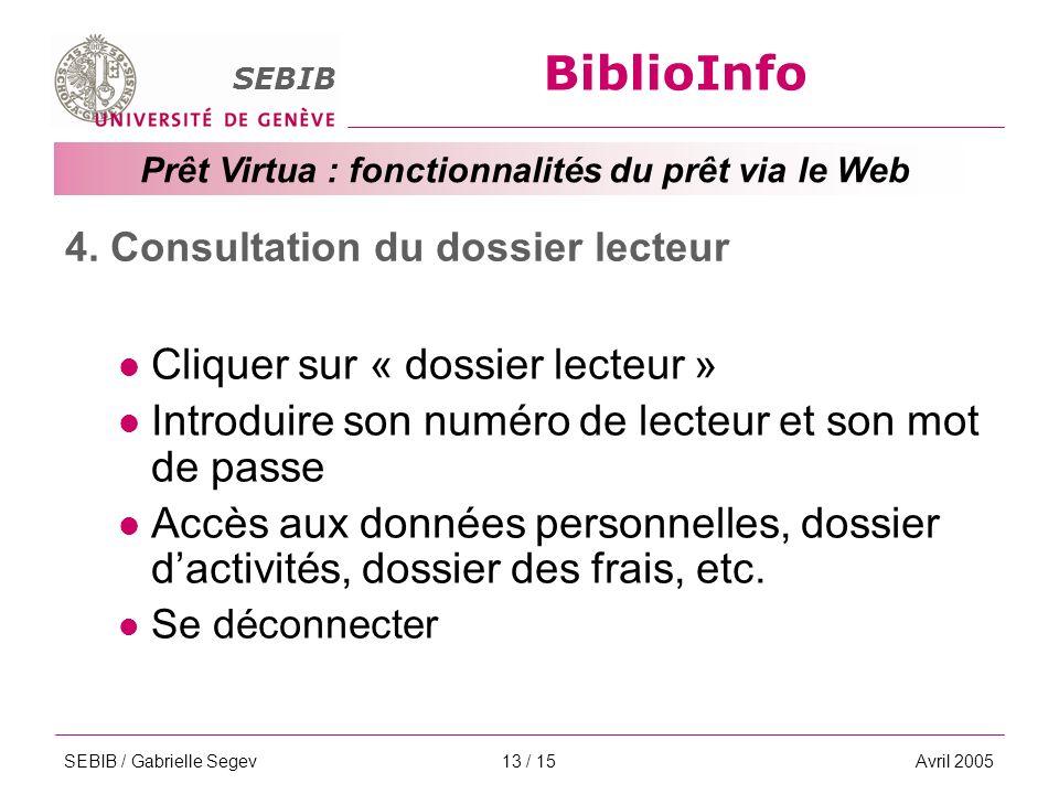 BiblioInfo SEBIB Prêt Virtua : fonctionnalités du prêt via le Web SEBIB / Gabrielle SegevAvril 200513 / 15 4.
