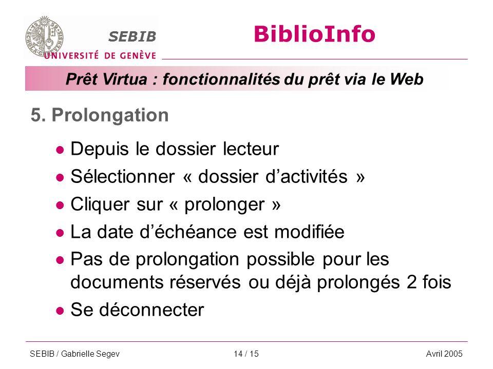 BiblioInfo SEBIB Prêt Virtua : fonctionnalités du prêt via le Web SEBIB / Gabrielle SegevAvril 200514 / 15 5.