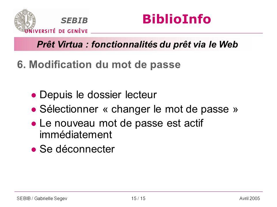 BiblioInfo SEBIB Prêt Virtua : fonctionnalités du prêt via le Web SEBIB / Gabrielle SegevAvril 200515 / 15 6.