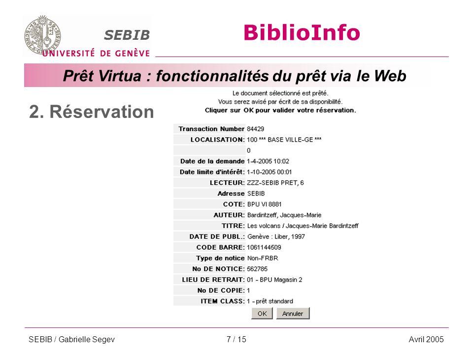 BiblioInfo SEBIB Prêt Virtua : fonctionnalités du prêt via le Web SEBIB / Gabrielle SegevAvril 20057 / 15 2.