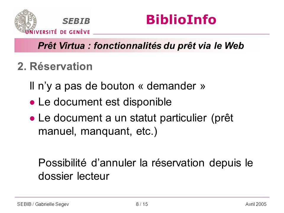 BiblioInfo SEBIB Prêt Virtua : fonctionnalités du prêt via le Web SEBIB / Gabrielle SegevAvril 20058 / 15 2.