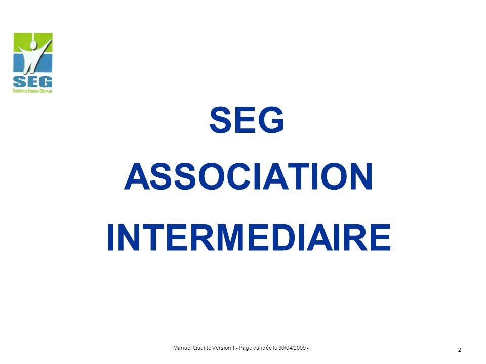 Manuel Qualité Version 1 - Page validée le 30/04/2009 - 2 ASSOCIATION INTERMEDIAIRE SEG
