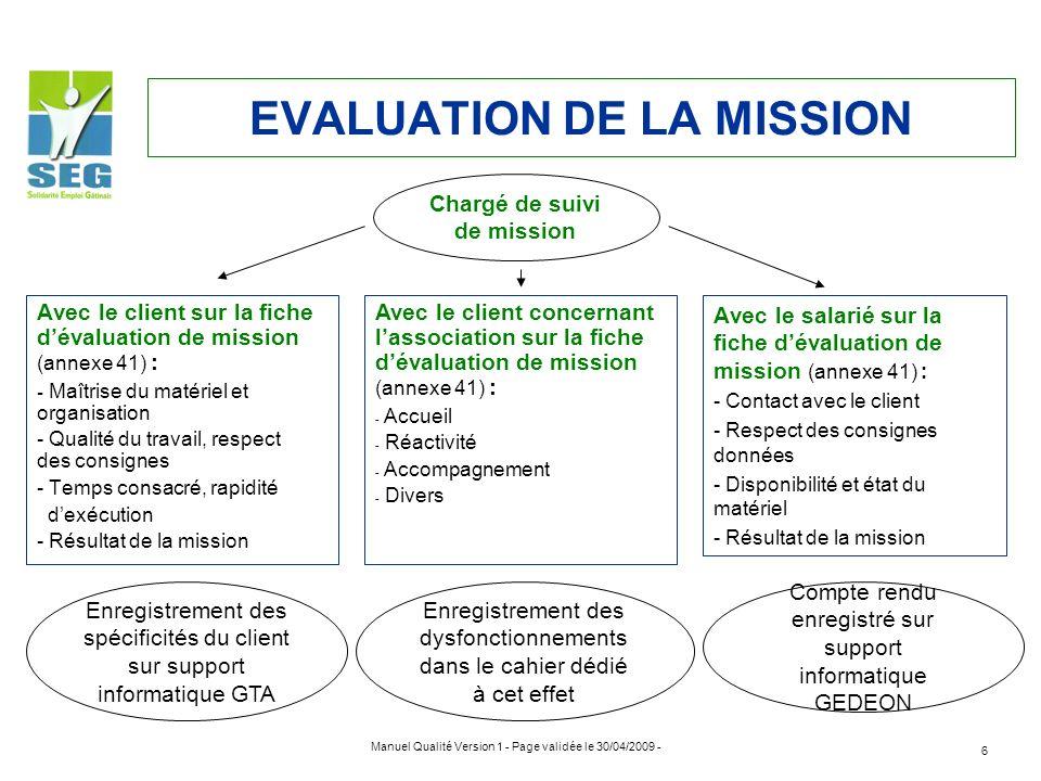 Manuel Qualité Version 1 - Page validée le 30/04/2009 - 6 EVALUATION DE LA MISSION Avec le client sur la fiche dévaluation de mission (annexe 41) : -