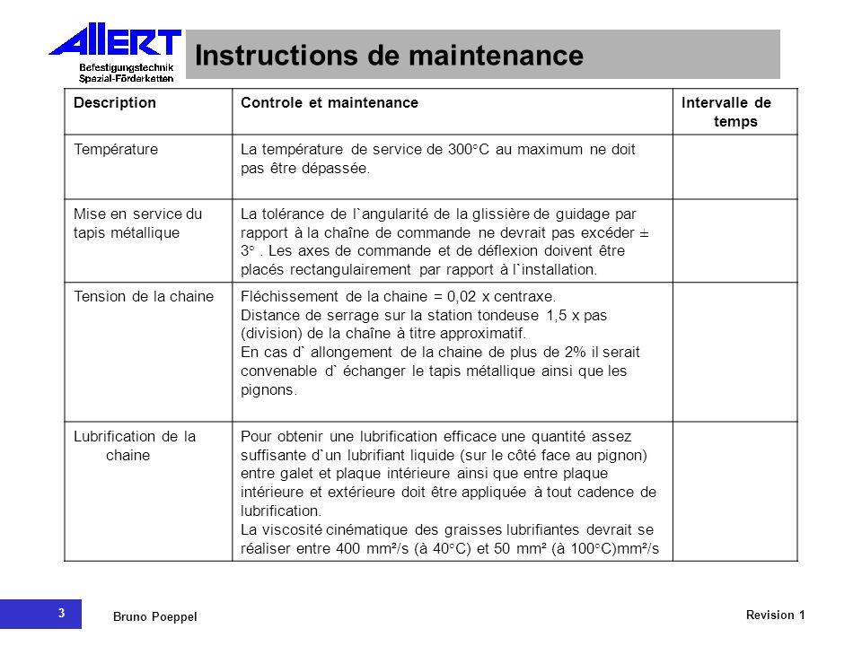 3 Revision 1 Bruno Poeppel Instructions de maintenance DescriptionControle et maintenanceIntervalle de temps TempératureLa température de service de 3