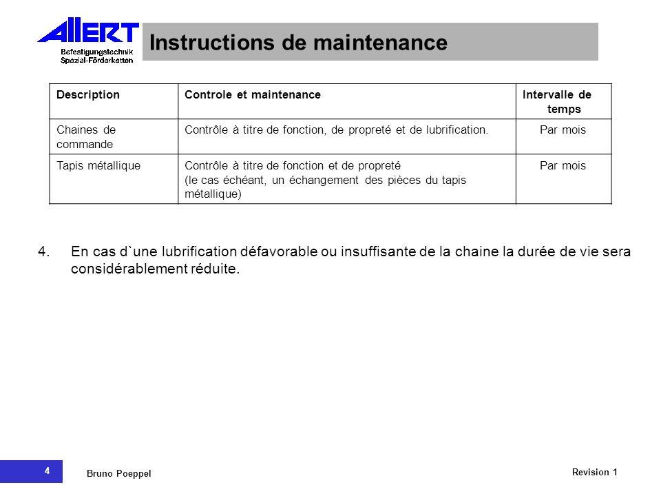 4 Revision 1 Bruno Poeppel Instructions de maintenance DescriptionControle et maintenanceIntervalle de temps Chaines de commande Contrôle à titre de f